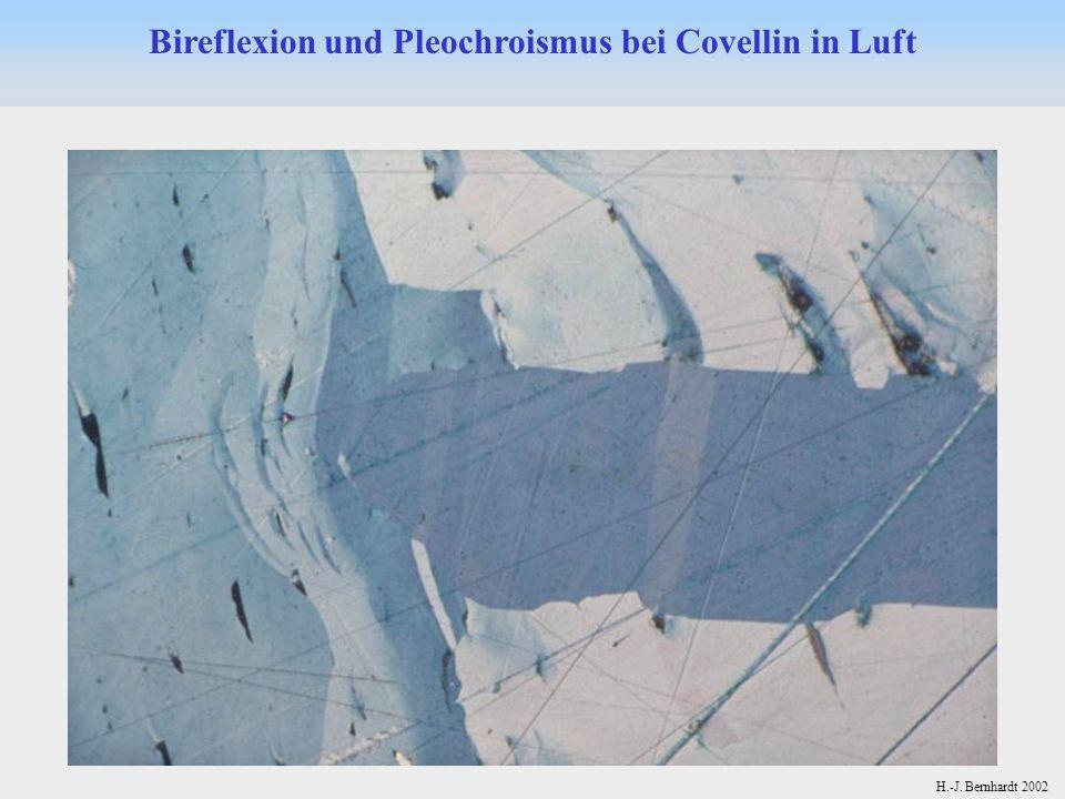 Bireflexion und Pleochroismus bei Covellin in Luft