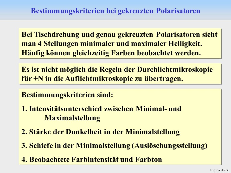 Bestimmungskriterien bei gekreuzten Polarisatoren