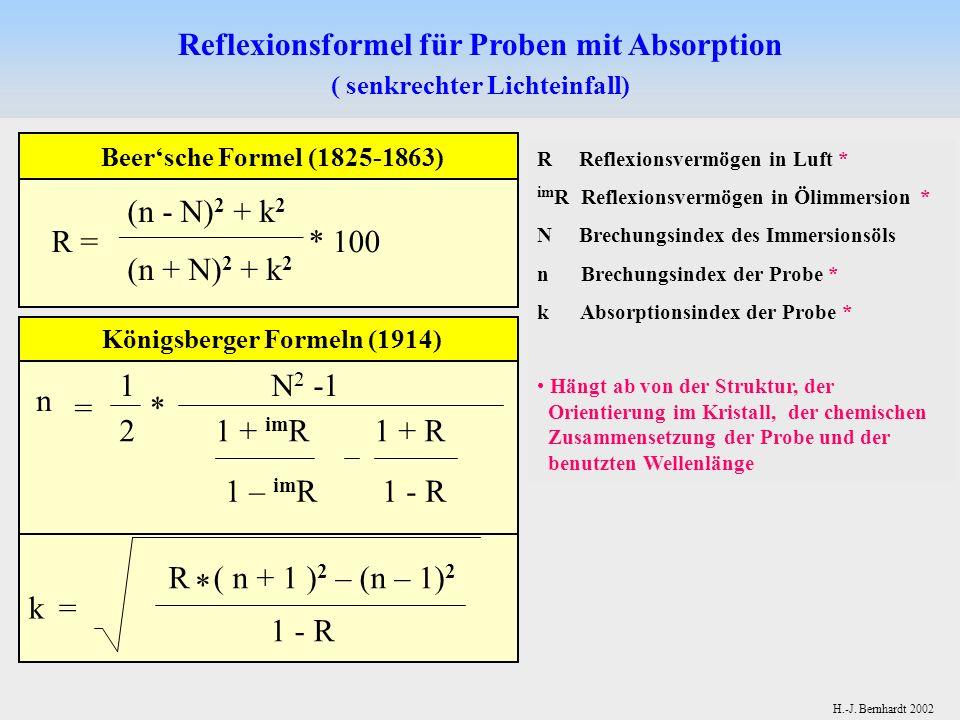 Reflexionsformel für Proben mit Absorption Königsberger Formeln (1914)