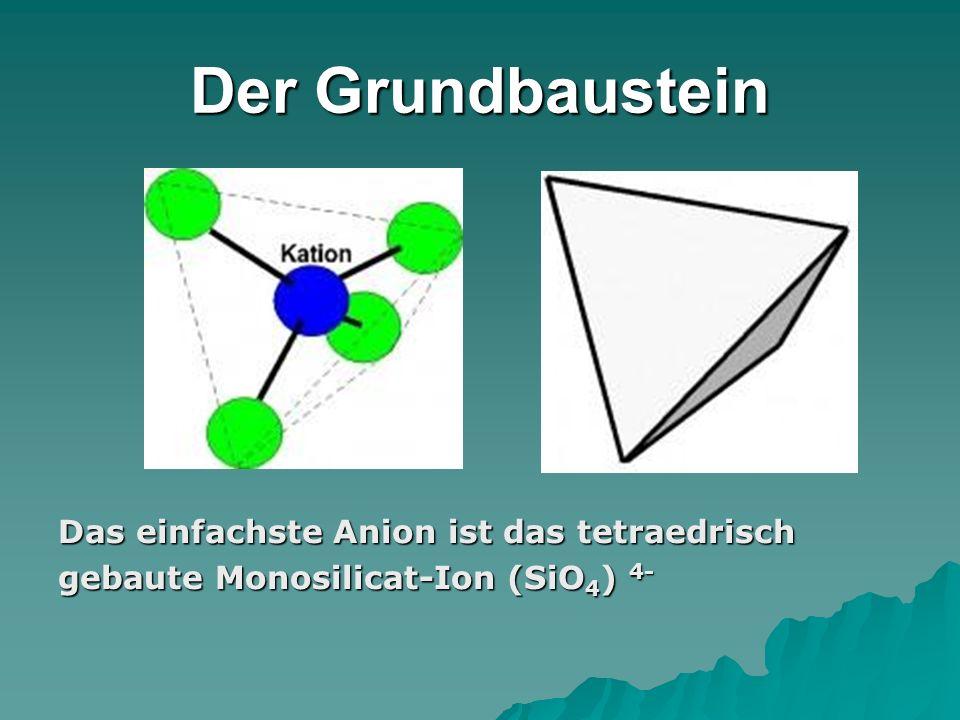 Der Grundbaustein Das einfachste Anion ist das tetraedrisch