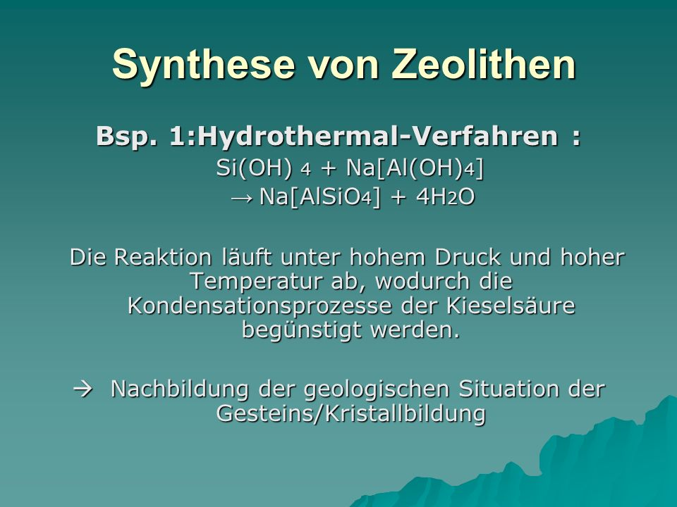 Synthese von Zeolithen