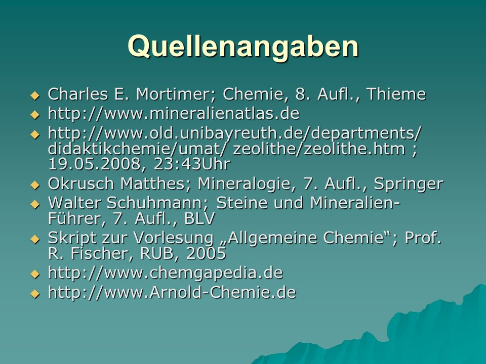Quellenangaben Charles E. Mortimer; Chemie, 8. Aufl., Thieme
