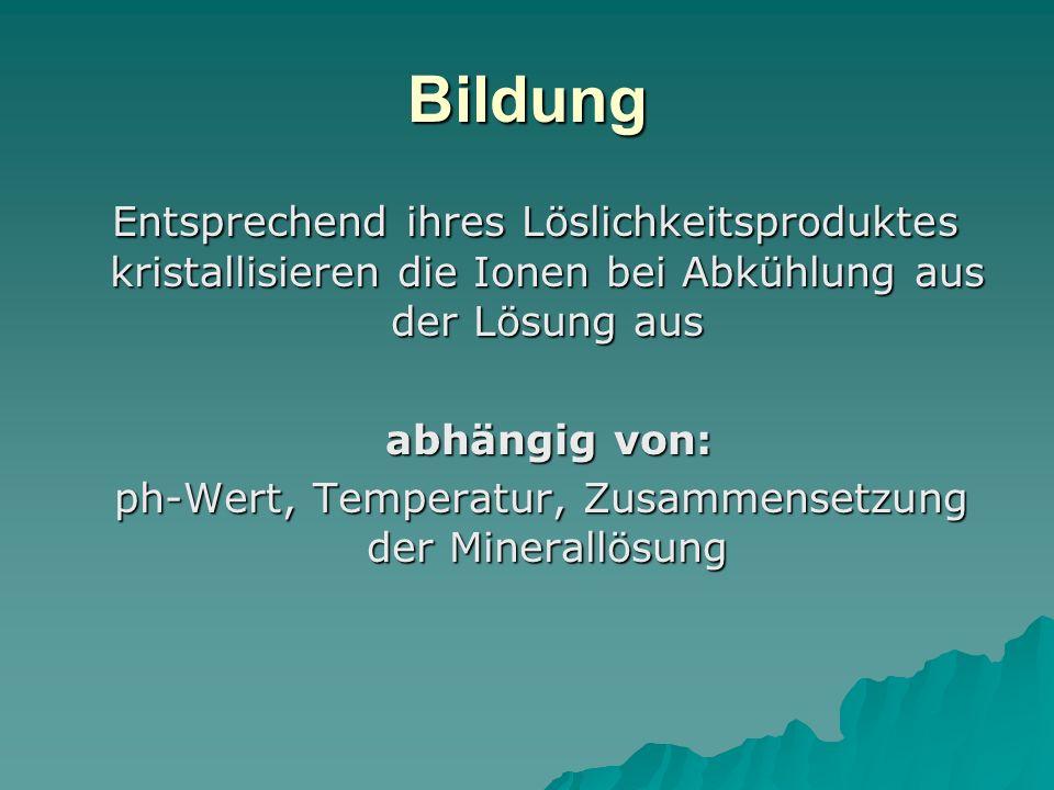 ph-Wert, Temperatur, Zusammensetzung der Minerallösung