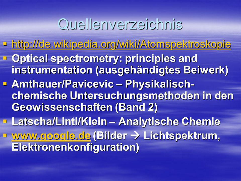 Quellenverzeichnis http://de.wikipedia.org/wiki/Atomspektroskopie