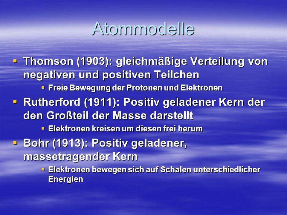 Atommodelle Thomson (1903): gleichmäßige Verteilung von negativen und positiven Teilchen. Freie Bewegung der Protonen und Elektronen.