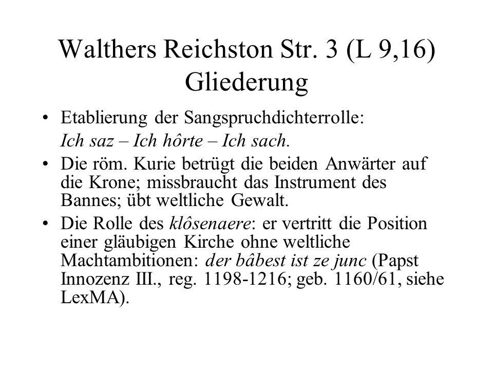 Walthers Reichston Str. 3 (L 9,16) Gliederung