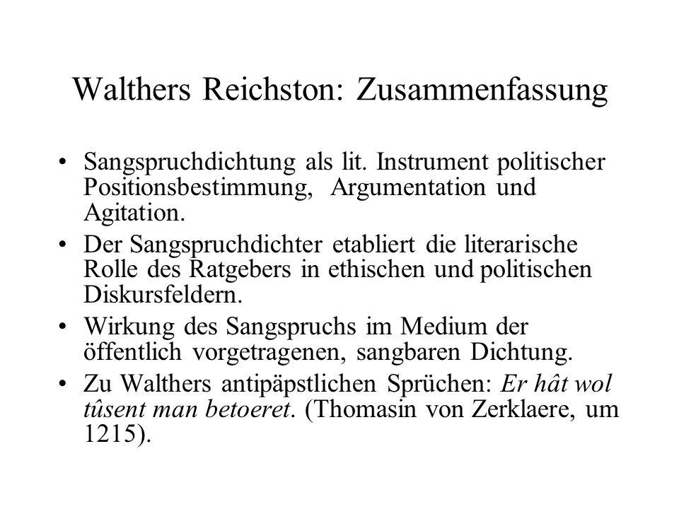 Walthers Reichston: Zusammenfassung