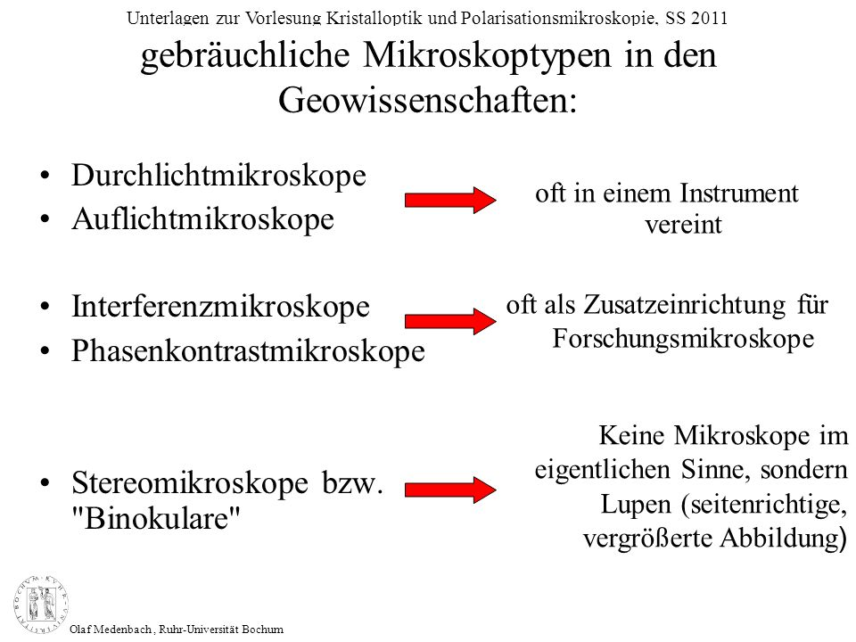 gebräuchliche Mikroskoptypen in den Geowissenschaften:
