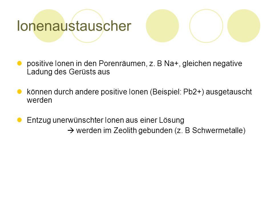 Ionenaustauscher positive Ionen in den Porenräumen, z. B Na+, gleichen negative Ladung des Gerüsts aus.