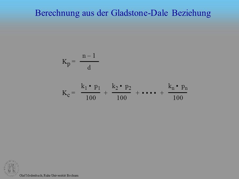 Berechnung aus der Gladstone-Dale Beziehung