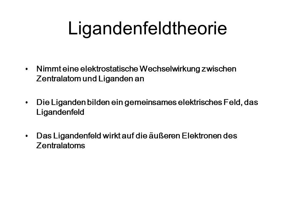Ligandenfeldtheorie Nimmt eine elektrostatische Wechselwirkung zwischen Zentralatom und Liganden an.