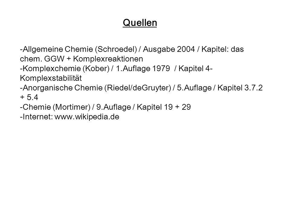 Quellen -Allgemeine Chemie (Schroedel) / Ausgabe 2004 / Kapitel: das chem. GGW + Komplexreaktionen.