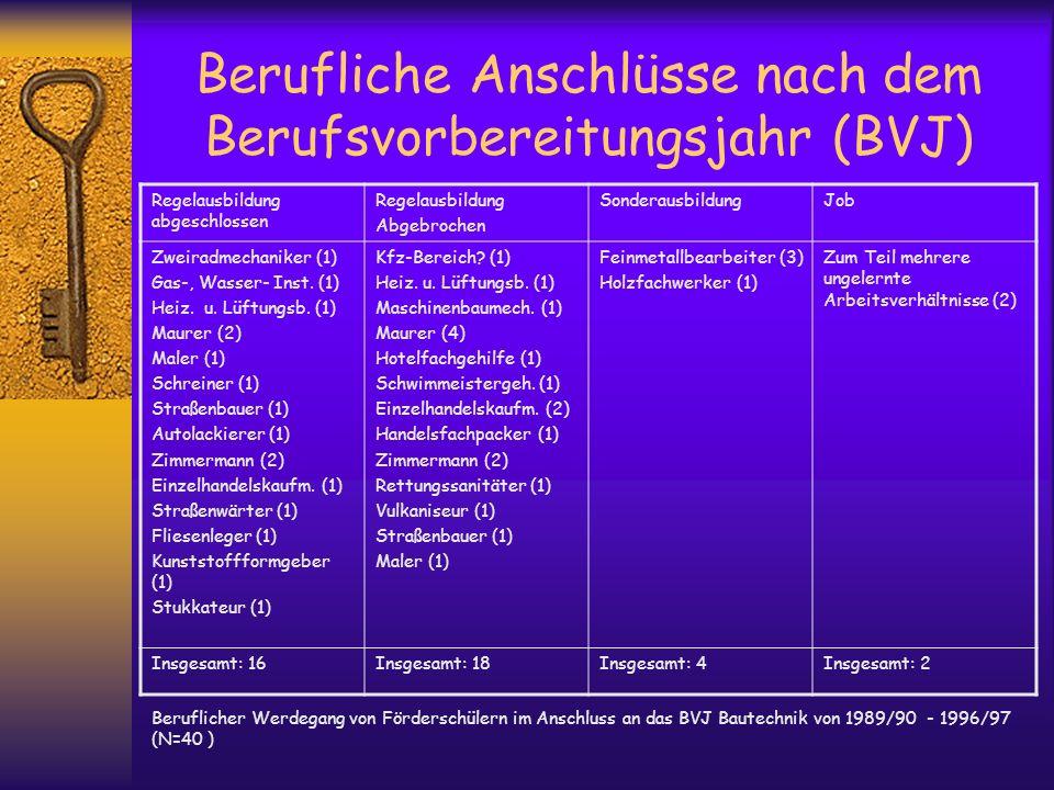 Berufliche Anschlüsse nach dem Berufsvorbereitungsjahr (BVJ)