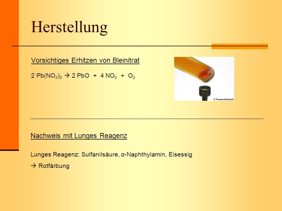 Herstellung Vorsichtiges Erhitzen von Bleinitrat