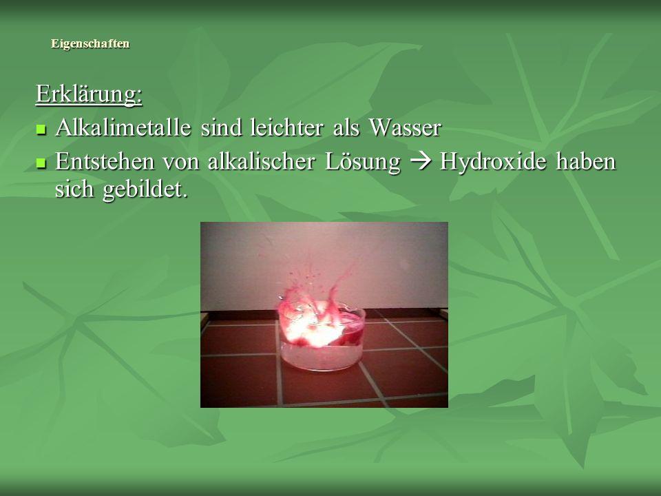 Alkalimetalle sind leichter als Wasser