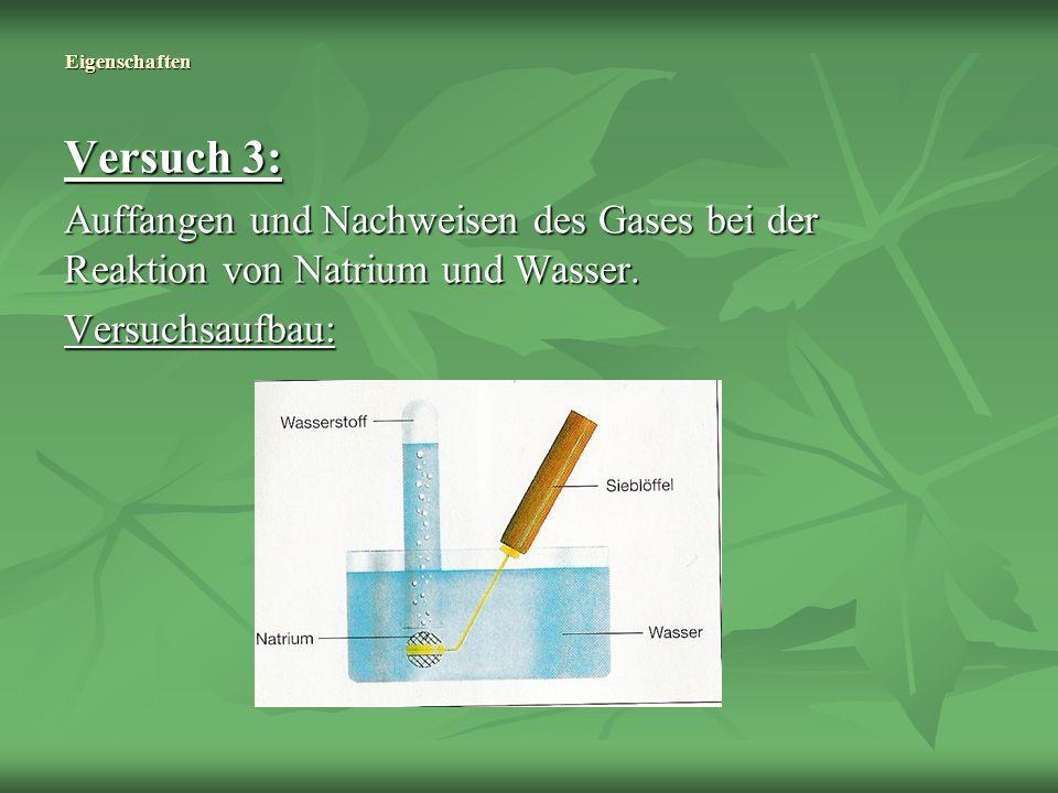 Eigenschaften Versuch 3: Auffangen und Nachweisen des Gases bei der Reaktion von Natrium und Wasser.