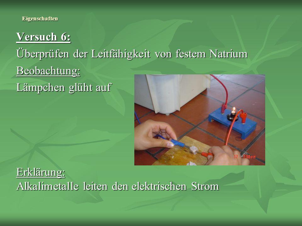 Überprüfen der Leitfähigkeit von festem Natrium Beobachtung: