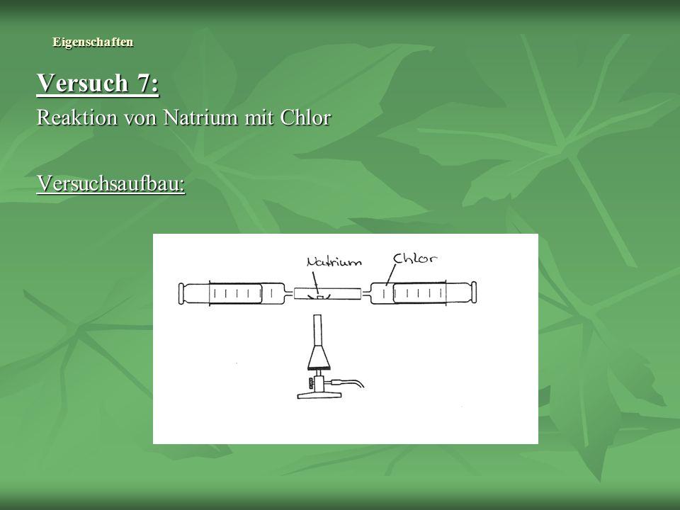 Versuch 7: Reaktion von Natrium mit Chlor Versuchsaufbau: