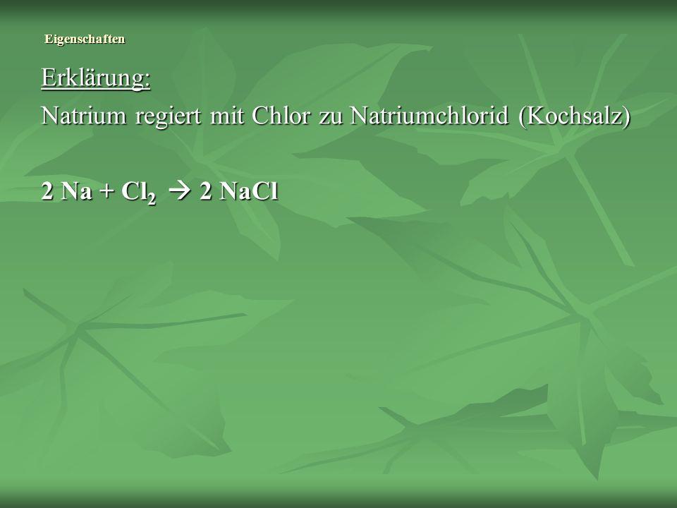 Natrium regiert mit Chlor zu Natriumchlorid (Kochsalz)