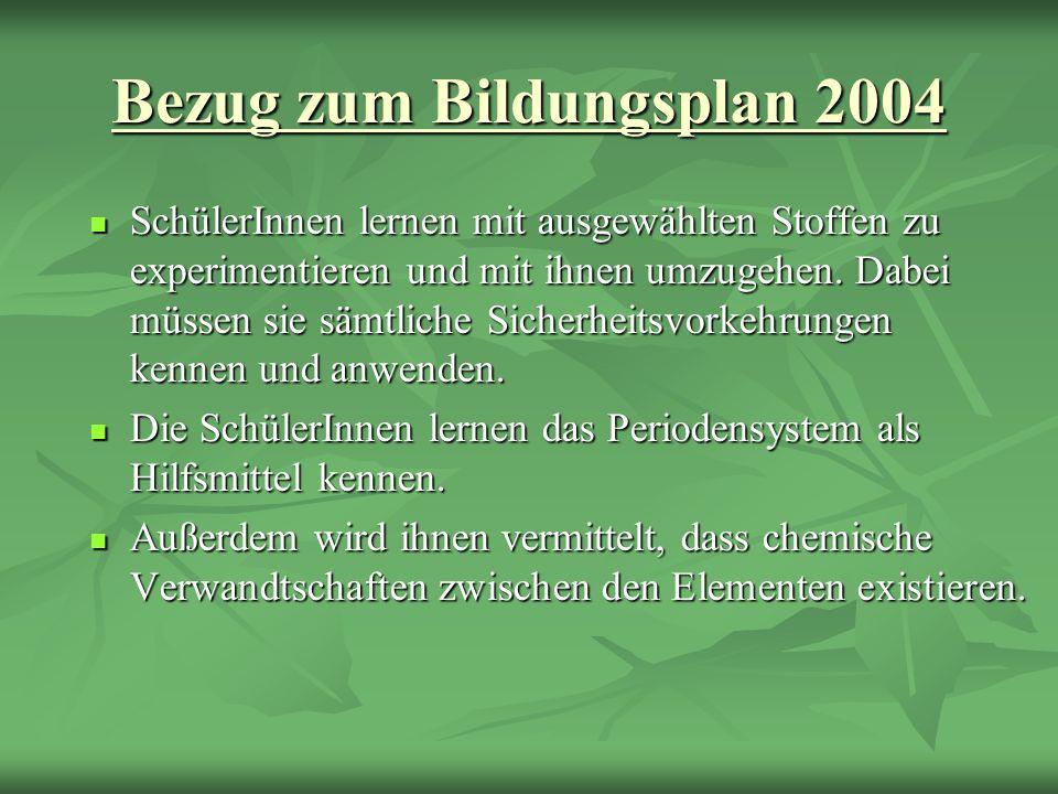 Bezug zum Bildungsplan 2004