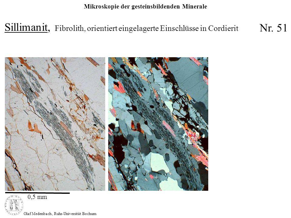 Sillimanit, Fibrolith, orientiert eingelagerte Einschlüsse in Cordierit