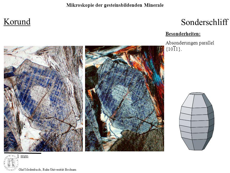 Korund Sonderschliff Besonderheiten: Absonderungen parallel {1011}.