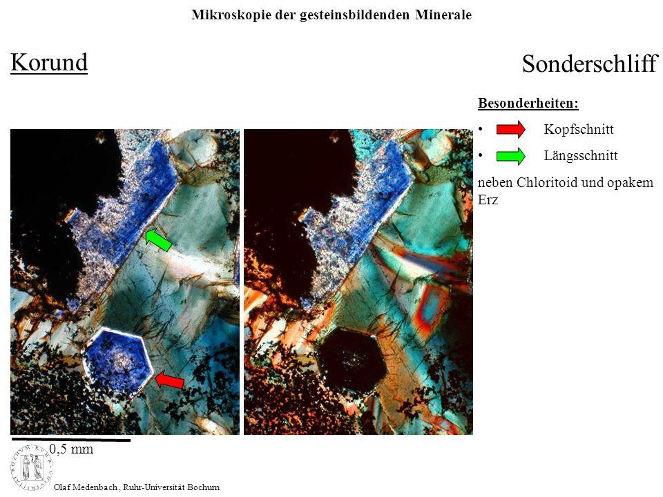 Korund Sonderschliff Besonderheiten: Kopfschnitt Längsschnitt