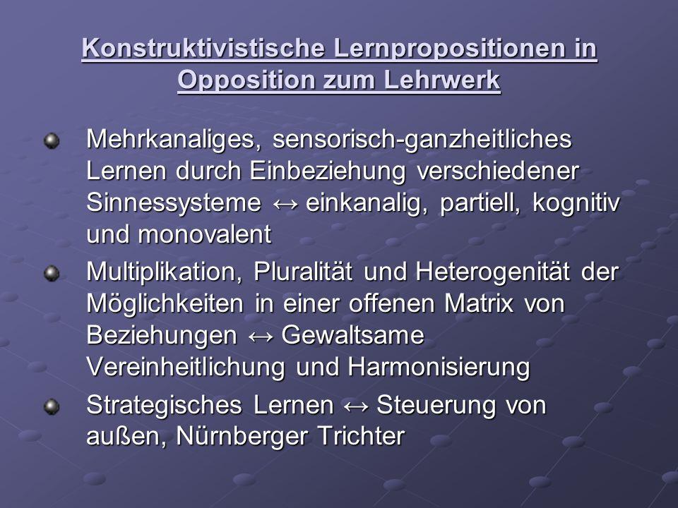 Konstruktivistische Lernpropositionen in Opposition zum Lehrwerk