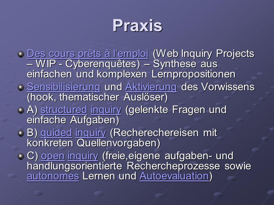 Praxis Des cours prêts à l'emploi (Web Inquiry Projects – WIP - Cyberenquêtes) – Synthese aus einfachen und komplexen Lernpropositionen.