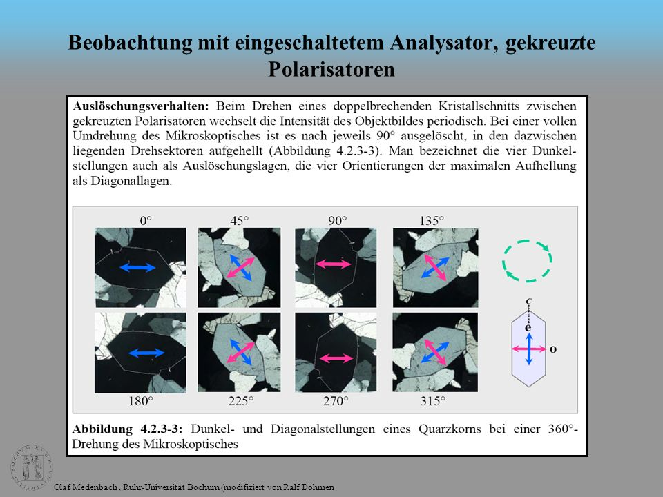 Beobachtung mit eingeschaltetem Analysator, gekreuzte Polarisatoren
