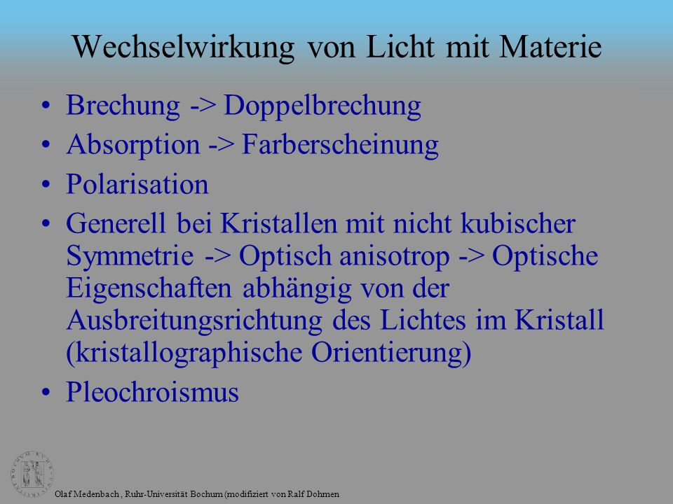 Wechselwirkung von Licht mit Materie