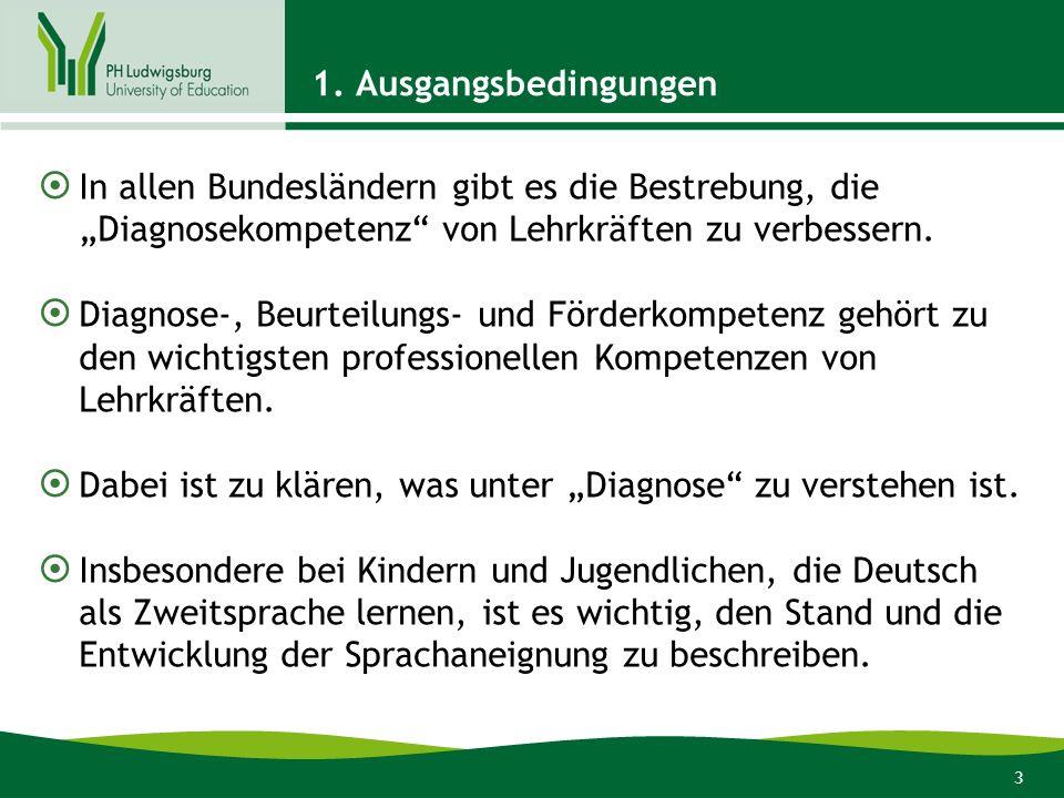 """1. Ausgangsbedingungen In allen Bundesländern gibt es die Bestrebung, die """"Diagnosekompetenz von Lehrkräften zu verbessern."""