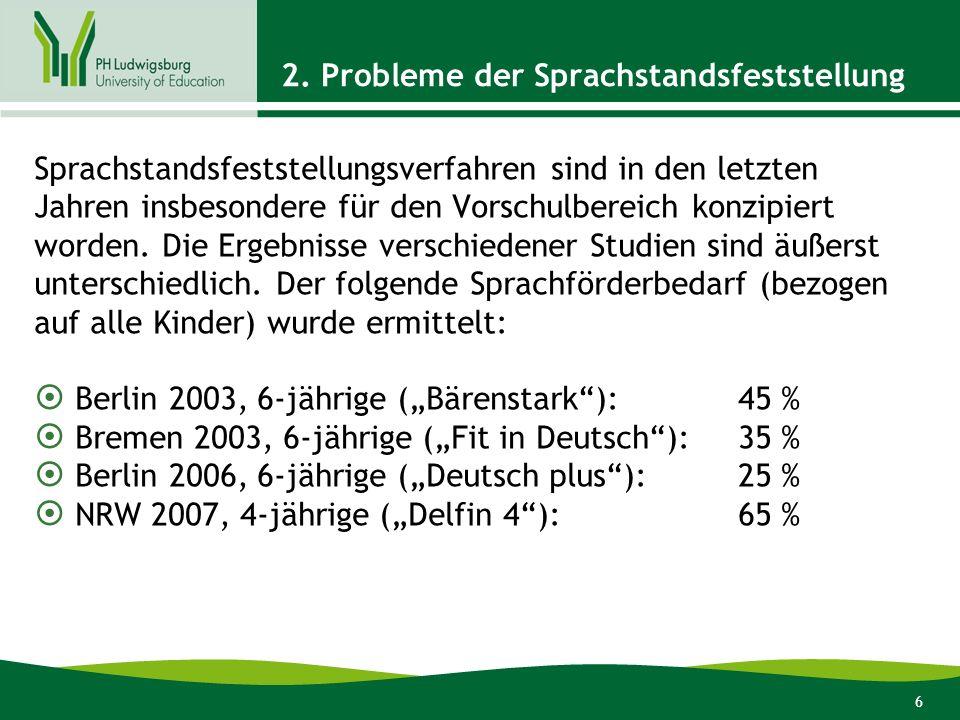 2. Probleme der Sprachstandsfeststellung