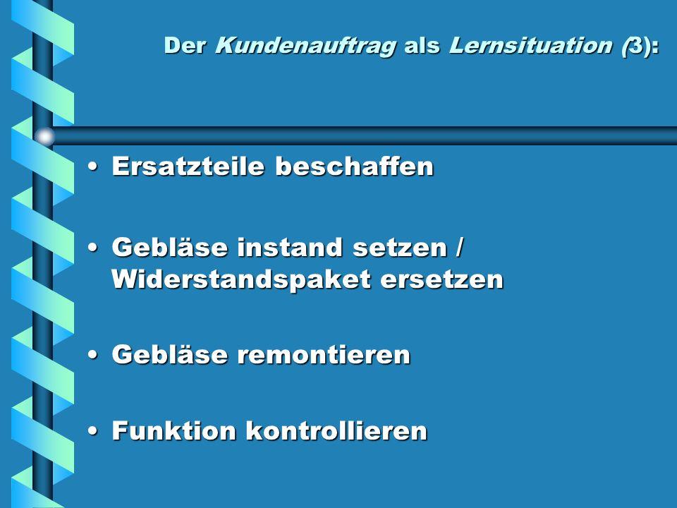 Der Kundenauftrag als Lernsituation (3):