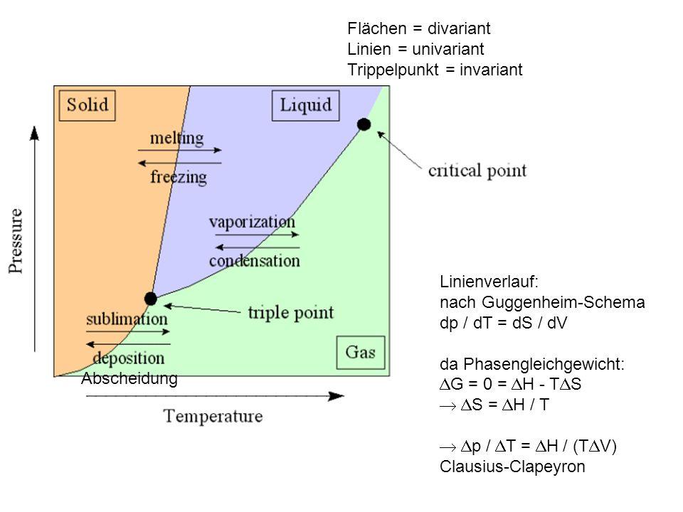Flächen = divariant Linien = univariant. Trippelpunkt = invariant. Linienverlauf: nach Guggenheim-Schema.