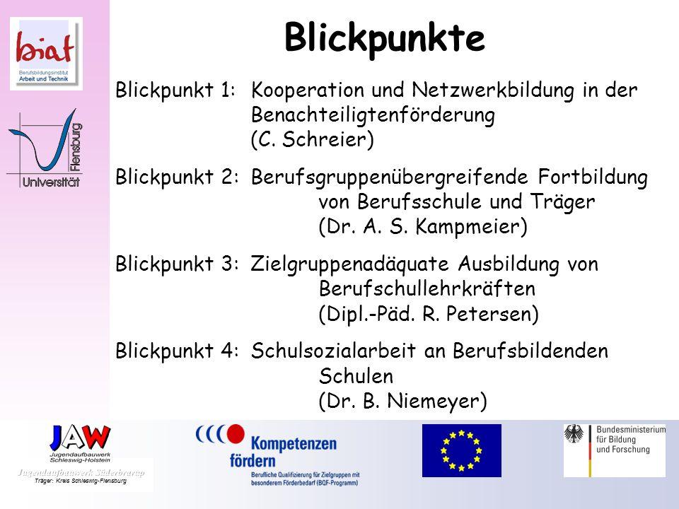 BlickpunkteBlickpunkt 1: Kooperation und Netzwerkbildung in der Benachteiligtenförderung (C. Schreier)