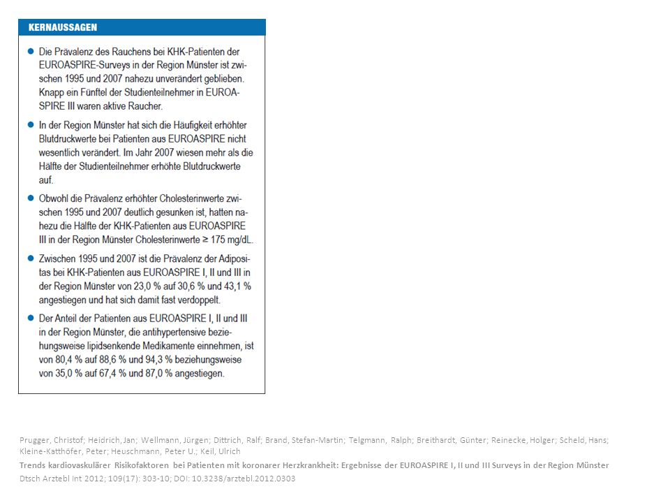 Prugger, Christof; Heidrich, Jan; Wellmann, Jürgen; Dittrich, Ralf; Brand, Stefan-Martin; Telgmann, Ralph; Breithardt, Günter; Reinecke, Holger; Scheld, Hans; Kleine-Katthöfer, Peter; Heuschmann, Peter U.; Keil, Ulrich