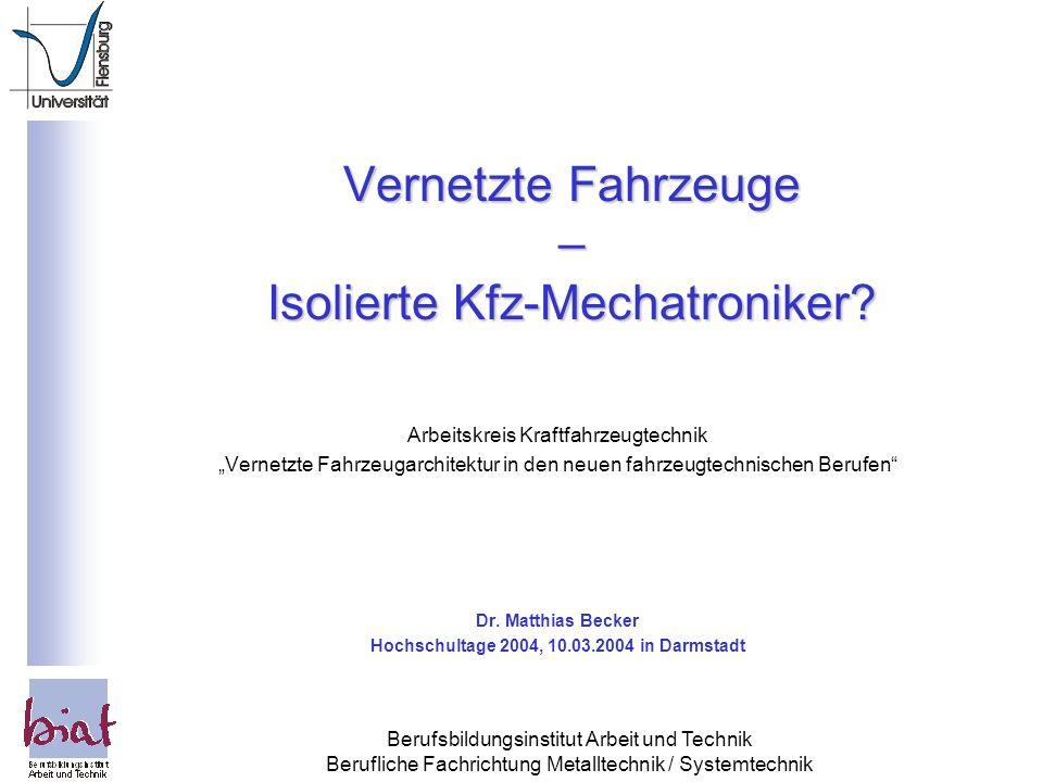 Vernetzte Fahrzeuge – Isolierte Kfz-Mechatroniker