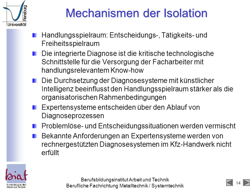 Mechanismen der Isolation