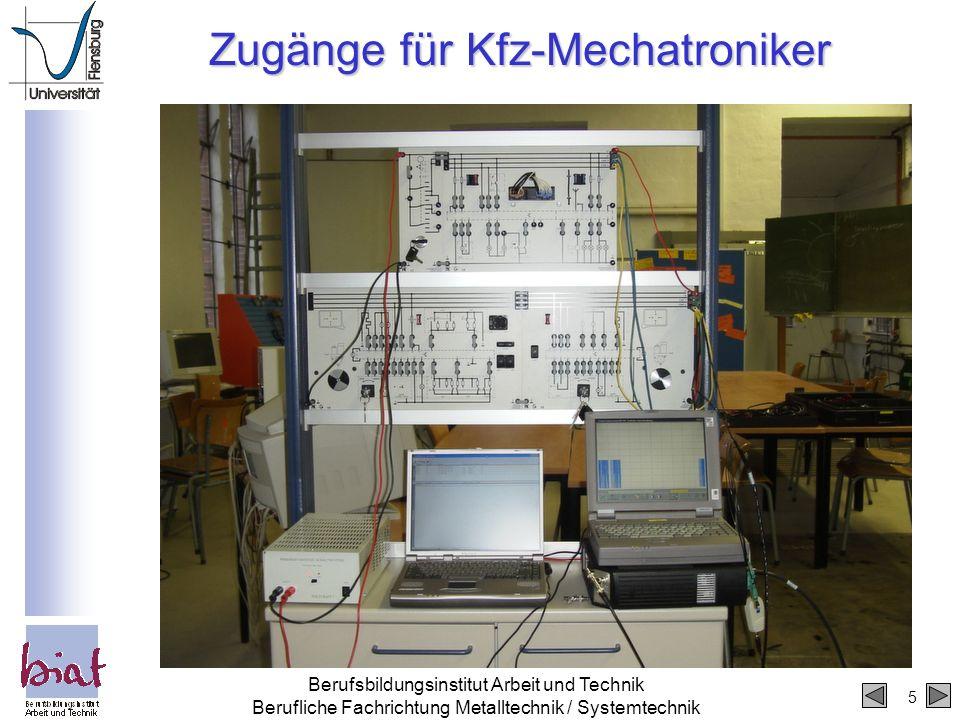 Zugänge für Kfz-Mechatroniker