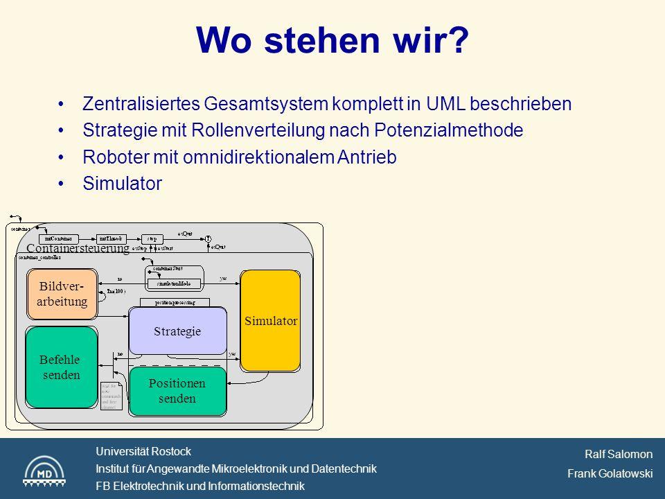 Wo stehen wir Zentralisiertes Gesamtsystem komplett in UML beschrieben. Strategie mit Rollenverteilung nach Potenzialmethode.