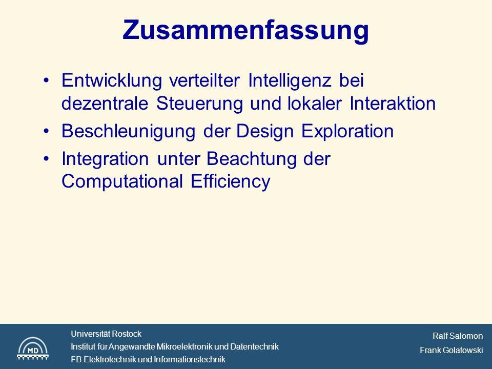 Zusammenfassung Entwicklung verteilter Intelligenz bei dezentrale Steuerung und lokaler Interaktion.