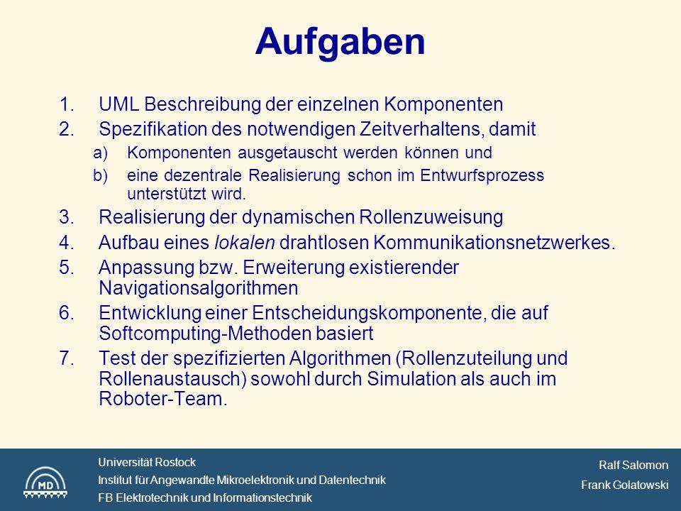 Aufgaben UML Beschreibung der einzelnen Komponenten
