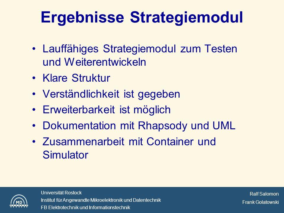 Ergebnisse Strategiemodul