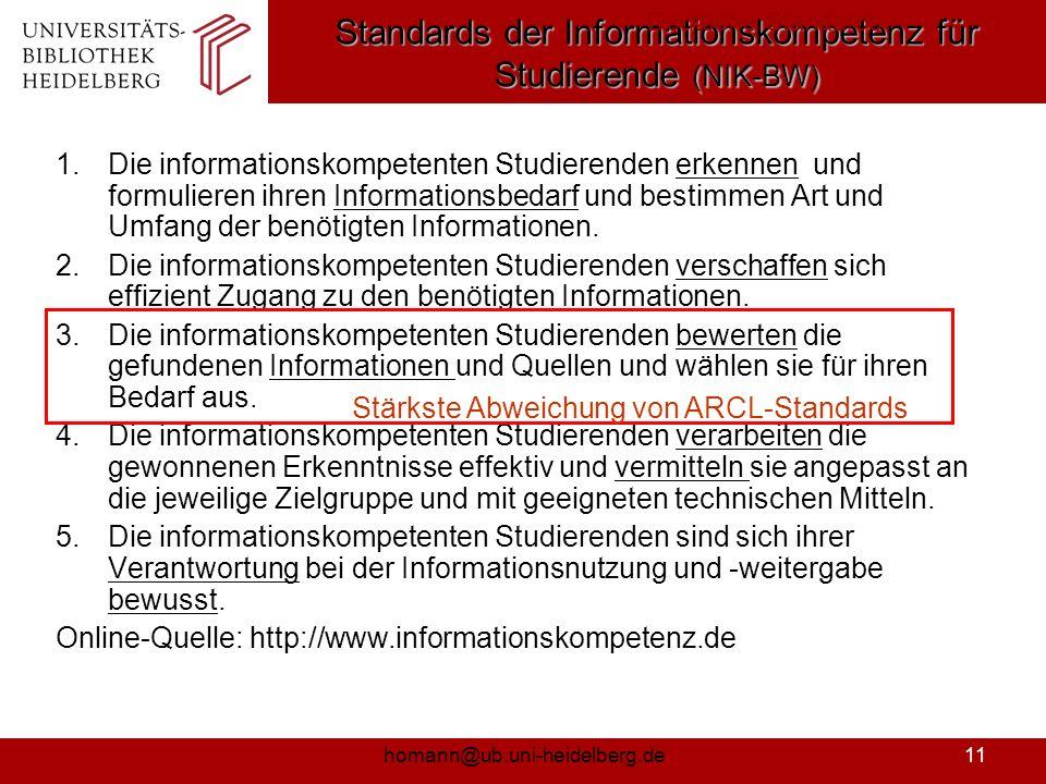 Standards der Informationskompetenz für Studierende (NIK-BW)