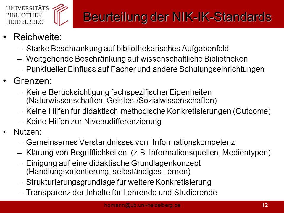 Beurteilung der NIK-IK-Standards