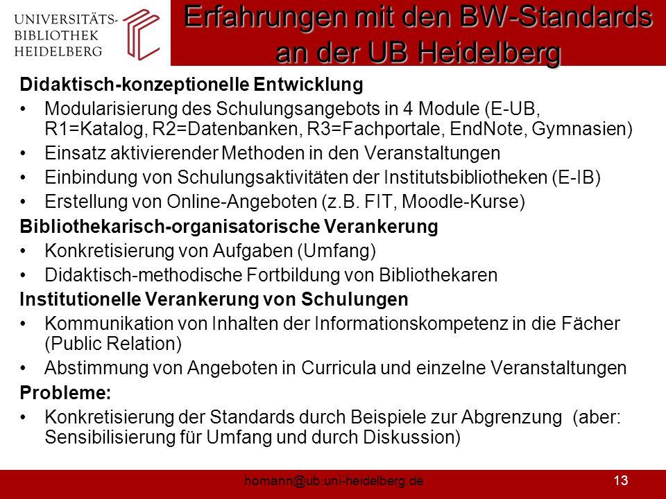 Erfahrungen mit den BW-Standards an der UB Heidelberg