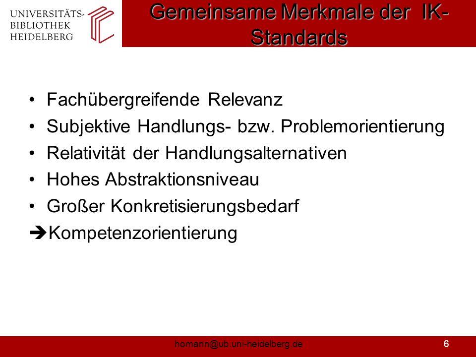 Gemeinsame Merkmale der IK-Standards
