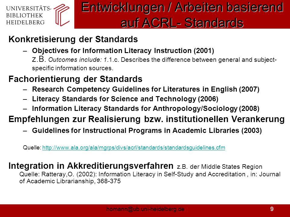 Entwicklungen / Arbeiten basierend auf ACRL- Standards