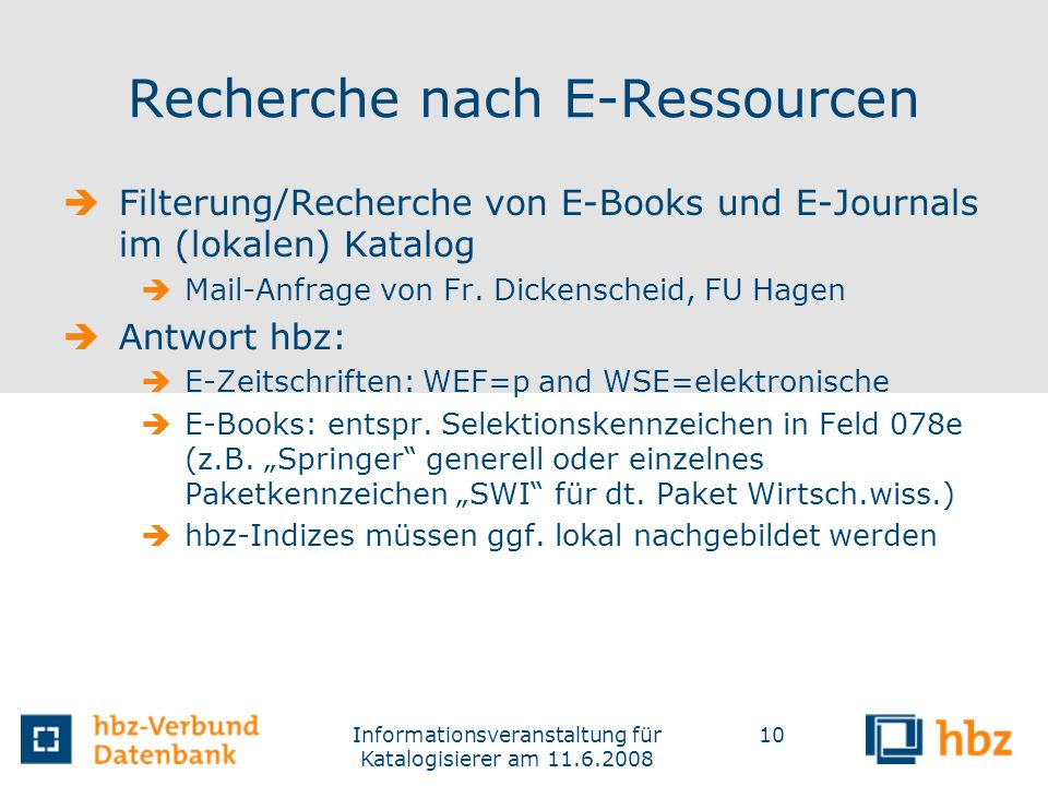 Recherche nach E-Ressourcen